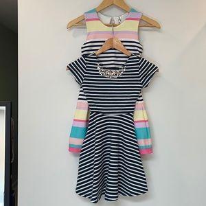 2 Striped & Embellished Girls Dresses sz 7/8